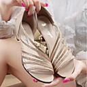 זול עגילים אופנתיים-בגדי ריקוד נשים נעליים PU קיץ נוחות סנדלים עקב עבה זהב / כסף / סגול