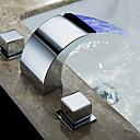 رخيصةأون حنفيات مغاسل الحمام-بالوعة الحمام الحنفية - شلال الكروم تثبيت على سطح مقبضين ثلاثة ثقوب