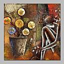 tanie Wydruki-Hang-Malowane obraz olejny Ręcznie malowane - Abstrakcja Vintage Naciągnięte płótka / Rozciągnięte płótno