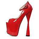 Χαμηλού Κόστους Γυναικείες Γόβες-Γυναικεία Παπούτσια PU Φθινόπωρο & Χειμώνας Βασική Γόβα Τακούνια Κοντόχοντρο Τακούνι Ανοικτή Μύτη Αγκράφα Μαύρο / Κόκκινο / Γάμου / Πάρτι & Βραδινή Έξοδος