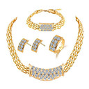cheap Jewelry Sets-Women's Jewelry Set Rhinestone Ladies, Stylish, Classic, Dubai Include Bracelet Bangles Stud Earrings Necklace Adjustable Ring Gold For Wedding Daily Ceremony Masquerade Engagement Party Prom