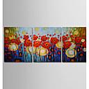 povoljno Slike za cvjetnim/biljnim motivima-Hang oslikana uljanim bojama Ručno oslikana - Sažetak Cvjetni / Botanički Moderna Uključi Unutarnji okvir / Tri plohe / Prošireni platno