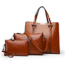cheap Women's Sandals-Women's Bags Genuine Leather Bag Set 3 Pcs Purse Set Buttons / Zipper Blushing Pink / Brown / Wine