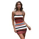cheap Women's Heels-Women's Slim Bodycon Dress - Striped Strap