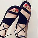 povoljno Ženske klompe i klompe na petu-Žene Cipele Mekana koža Proljeće ljeto Udobne cipele Sandale Ravna potpetica Otvoreno toe Crn / Tamno smeđa