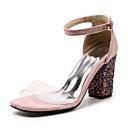 baratos Acessórios de Cabelo-Mulheres Sapatos Sintéticos Primavera Verão Plataforma Básica Sandálias Salto Robusto Dedo Aberto Vermelho / Verde / Rosa claro