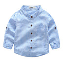 ieftine Set Îmbrăcăminte Băieți Bebeluși-Bebelus Băieți De Bază Zilnic Dungi Manșon Lung Regular Bumbac Cămașă Albastru piscină 100 / Copil