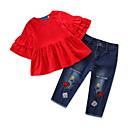 ieftine Set Îmbrăcăminte Bebeluși-Bebelus Fete Activ / De Bază Zilnic / Concediu Mată Bufantă Manșon Jumate Regular Spandex Set Îmbrăcăminte Roșu-aprins 100 / Copil