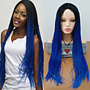 cheap Costume Wigs-Synthetic Wig Curly Braid Synthetic Hair Ombre Hair / Middle Part / Braided Wig Blue Wig Women's Long Capless Black / Sapphire Blue