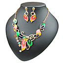 cheap Bracelets-Women's Cuban Link Curb Jewelry Set - Butterfly Sweet Lolita, Romantic, Fashion Include Hoop Earrings Choker Necklace Pendant Necklace Rainbow / Red / Green For Daily Evening Party