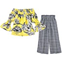 ieftine Seturi Îmbrăcăminte Fete-Copil Fete Floral / Plisat Manșon Jumate Set Îmbrăcăminte