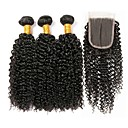 olcso pír-3 csomópont bezárásával Perui haj Kinky Curly Kémiai anyagoktól mentes / nyers / Emberi haj Ajándékok / Az emberi haj sző / Tea parti ajándékok 8-20 hüvelyk Természetes szín Emberi haj sző 4x4
