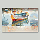 cheap Floral/Botanical Paintings-Mintura® Hand Painted Abstract Boat Oil Painting on Canvas Modern Wall Art Picture for Home Decoration Ready To Hang