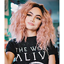 cheap Synthetic Lace Wigs-Synthetic Wig / Synthetic Lace Front Wig Women's Straight Pink Short Bob / Middle Part Synthetic Hair Adjustable / Heat Resistant / Ombre Hair Pink Wig Short Lace Front Black / Pink Modernfairy Hair