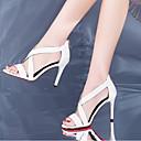 povoljno Ženske sandale-Žene Cipele Mekana koža Ljeto Udobne cipele Sandale Stiletto potpetica Obala / Crn