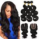 זול תוספות שיער בגוון טבעי-שיער ברזיאלי גלי פתרון חפיסה אחת 3 חבילות עם סגירה שוזרת שיער אנושי extention שחור תוספות שיער אדם בגדי ריקוד נשים