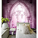 baratos Murais de Parede-Fantasia roxo palácio ocidental janela carta personalizado papel de parede mural cobrindo 3d mural adequado para cozinha quarto café