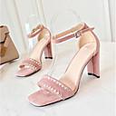 זול סנדלי נשים-בגדי ריקוד נשים נעליים סוויד קיץ נוחות סנדלים חסום את העקב בוהן מציצה ריינסטון שחור / ורוד / מסיבה וערב