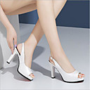 cheap Solid Duvet Covers-Women's Shoes Nappa Leather Spring & Summer Novelty Heels Chunky Heel Peep Toe Booties / Ankle Boots Buckle White / Black / Pink / Party & Evening