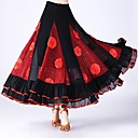 cheap Latin Dance Wear-Ballroom Dance Bottoms Women's Performance Tulle Scattered Bead Floral Motif Style / Ruching / Split Joint Natural Skirts