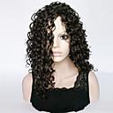 halpa Synteettiset peruukit verkolla-Synteettiset peruukit Kihara Tyyli Epäsymmetrinen leikkaus Suojuksettomat Peruukki Musta Jet Black Synteettiset hiukset Naisten Party Musta Peruukki Pitkä Luonnollinen peruukki