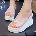 ieftine Flip-Flops de Damă-Pentru femei Pantofi PU Vară Confortabili Sandale Toc Platformă Pantofi vârf deschis Perle Alb / Roz