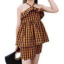 ieftine Seturi Îmbrăcăminte Fete-Copii Fete De Bază Plisat Imprimeu Manșon scurt Bumbac Set Îmbrăcăminte