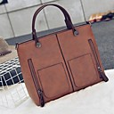 cheap Totes-Women's Bags PU Leather Tote Zipper Gray / Maroon / Brown