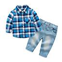 olcso Bébi Fiúknak ruházat-Baba Fiú Kockás Hosszú ujj Ruházat szett