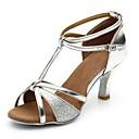 olcso Menyasszonyi sálak és stólák-Női Latin cipők Szintetikus Szandál / Magassarkúk Illesztés Kúpsarok Személyre szabható Dance Shoes Ezüst