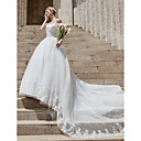 cheap Wall Stickers-Ball Gown Off Shoulder Cathedral Train Tulle / Lace Over Satin Made-To-Measure Wedding Dresses with Appliques / Crystals by LAN TING BRIDE® / Sparkle & Shine