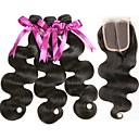 preiswerte Modische Armbänder-3 Bundles mit Verschluss Brasilianisches Haar Wellen 8A Echthaar Menschenhaar spinnt Erweiterung Haar-Einschlagfaden mit Verschluss 8-22 Zoll Schwarz Naturfarbe Menschliches Haar Webarten 4x4 Closure
