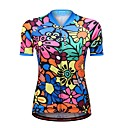 cheap Party Gloves-WOSAWE Women's Short Sleeve Cycling Jersey - Blue Floral / Botanical Bike Jersey, Reflective Strips
