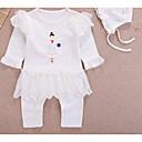 preiswerte Mode Uhr-Baby Mädchen Grundlegend Alltag Solide / Einfarbig Rüsche / Print / Grundlegend Langarm Baumwolle Einzelteil Weiß