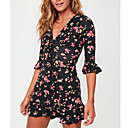 cheap Totes-Women's Going out Basic Flare Sleeve Cotton Slim Sheath Dress - Floral Print V Neck / Floral Patterns