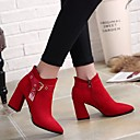 cheap Women's Boots-Women's Shoes Suede Winter Comfort Boots Chunky Heel Black / Red