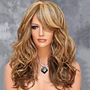cheap Human Hair Wigs-Synthetic Wig Wavy Blonde Layered Haircut Synthetic Hair Side Part / With Bangs / For European Blonde Wig Women's Medium Length / Mid Length Capless