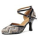 baratos Sapatos de Dança Moderna-Mulheres Sapatos de Dança Moderna Cetim Salto Lantejoula Salto Cubano Sapatos de Dança Azul / Nú