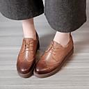 olcso Női Oxford cipők-Női Bőr Tavasz Kényelmes Félcipők Alacsony Fekete / Barna