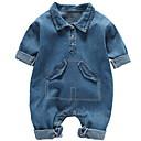 ieftine Set Îmbrăcăminte Băieți Bebeluși-Bebelus Băieți De Bază Zilnic Mată Denim Manșon Lung Bumbac / Poliester O - piesă Albastru piscină 90 / Copil