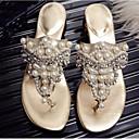 povoljno Ženske sandale-Žene Cipele Mekana koža Ljeto Udobne cipele Papuče i japanke Ravna potpetica Zlato