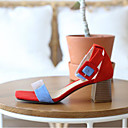 povoljno Ženske sandale-Žene Cipele Brušena koža Ljeto Udobne cipele Sandale Kockasta potpetica Otvoreno toe Kopča Crn / Crvena