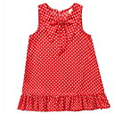 tanie Sukienki dla dziewczynek-Dzieci Dla dziewczynek Aktywny Codzienny Groszki Nadruk Bez rękawów Do kolan Bawełna / Poliester Sukienka Czerwony 140