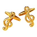 baratos Brincos-Prata / Dourado Botões de Punho Cobre Nota Musical Formal / Fashion Homens Jóias de fantasia Para Presente / Diário