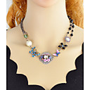 cheap Pins and Brooches-Women's Tourmaline Single Strand Statement Necklace - Flower Simple, Fashion Rainbow 44.2 cm Necklace 1pc For Party / Evening, School