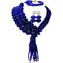 tanie Akcesoria do pieczenia-Damskie Warstwy materiały Biżuteria Ustaw - Kryształ austriacki Księżyc Moda Zawierać Naszyjnik z pasemkami Różowy / Mocny róż / Szampański Na Ślub Impreza