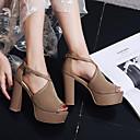 ieftine Tocuri de Damă-Pentru femei Pantofi Piele de Căprioară Primavara vara Balerini Basic Sandale Toc Îndesat Pantofi vârf deschis Cataramă Negru / Bej / Migdală / Party & Seară