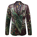 cheap Pins and Brooches-Men's Party / Going out / Work Regular Blazer, Floral / Animal V Neck Long Sleeve Polyester Green XL / XXL / XXXL