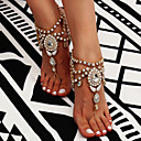 cheap Anklet-Tassel Barefoot Sandals - Flower Bohemian, Fashion, Boho Gold / Silver For Daily Casual Women's / Rhinestone