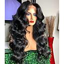 cheap Human Hair Wigs-Virgin Human Hair 360 Frontal Wig Brazilian Hair Wavy Black Wig Deep Parting Free Part 150% 180% Density with Baby Hair Women Hot Sale Comfortable Bleached Knots Black Women's Long Human Hair Lace Wig